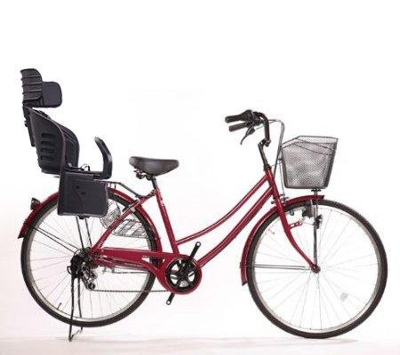 Lupinusルピナス 自転車 5☆好評 ●手数料無料!! 26インチ LP-266UD-KNRJ-BK 軽快車 ワインレッド 樹脂製後子乗せブラック ダイナモライト B073LSBT59 シマノ外装6段ギア