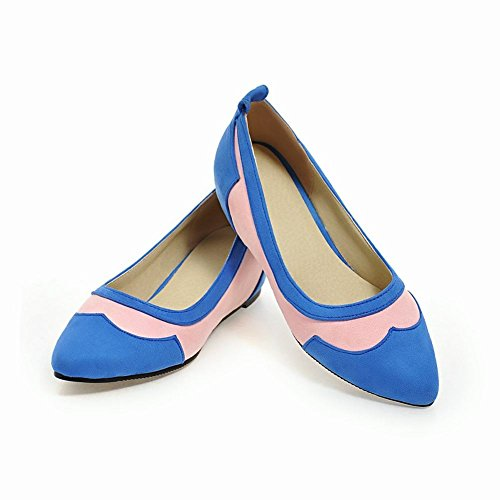 MissSaSa Damen geschlossen keilabsatz Pointed Toe Pumps Blau