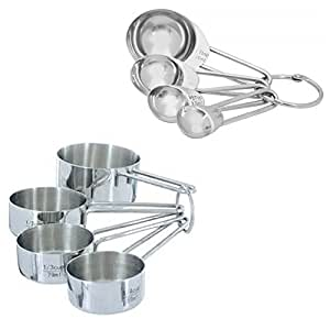 Chef's Secret 4 Piece Stainless Steel Measuring Cups + Measuring Spoons Bundled!