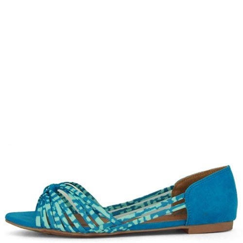 Qupid Women's Palmer-122 Sandal Flats,Turquoise Strappy F...