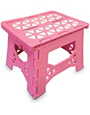"""Bula Baby Folding Step Stool for Kids - New Safe Locking System and Non Slip Feet Grip Light Weight Portable with Carry Handle Easy to Store 8.75""""High- Pink"""