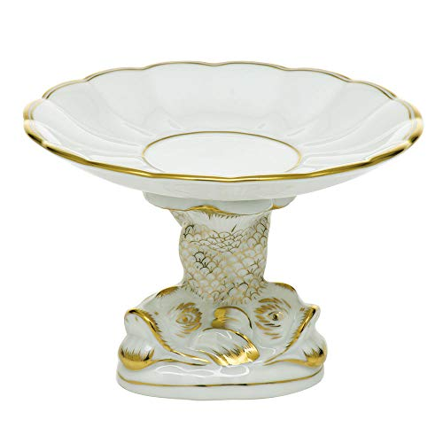 Herend Porcelain China Shell with Dolphin Stand Golden - Dolphin Herend