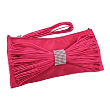 Fuchsia Satin Evening Bag Clutch Purse