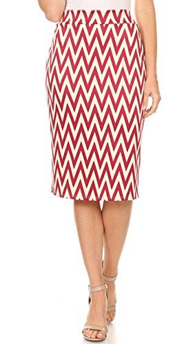 Women's Below The Knee Pencil Skirt for Office Wear - Made in USA (Size Medium, Berry Ivory Chevron)