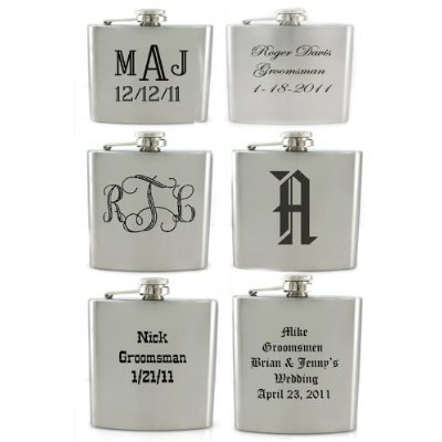 Set of 6 8oz Stainless Steel Groomsmen / Bridesmaid Gift! Flask - Free Laser Engraved