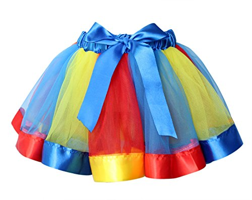 Heureux Filles Cerise Jupe Ballet Tutu Arc-en-couches Robe De Danse Volantée Pelucheux Jaune Et Bleu