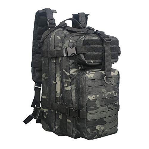 Fox Tactical Small Assault Backpack Military Backpack Tactical Bag, Waterproof,Molle System Rusksack for Outdoor, Hiking, Hunting,Camping Travel(Black Multicam) (Fox Outdoor)