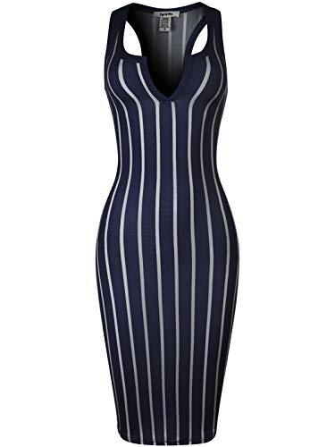 (Design by Olivia Women's Sexy Solid Split Neck Line Stripe Body-Con Midi Dress Navy S)