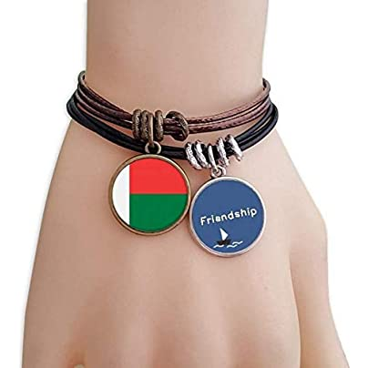 YMNW Madagascar National Flag Africa Country Friendship Bracelet Leather Rope Wristband Couple Set Estimated Price -
