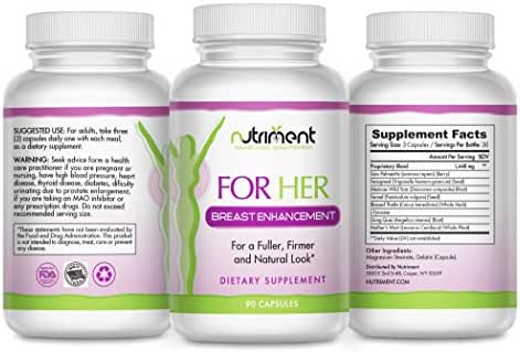 for Her Bust Enhancement Pills- Breast Enlargement Supplement for Naturally Larger, Firmer and Fuller Breasts- Bust Enhancer for Women- 90 Vegan Capsules
