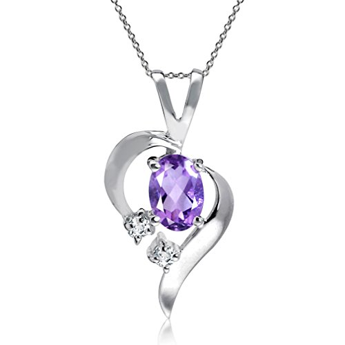 Natural Amethyst & White Topaz 925 Sterling Silver Modern Heart Pendant w/ 18 Inch Chain Necklace