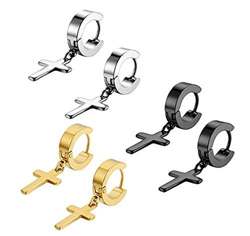 Set Sterling Silver Crucifix - ZLFT Men's Womens Vintage Stainless Steel Gold/Black/Silver Cross Dangle Hinged Hoop Earrings,Stainless Steel Hoop Huggie Earrings Cross Drop Dangle Earrings,Cross Earrings Piercing Jewelry Set 6 PCS