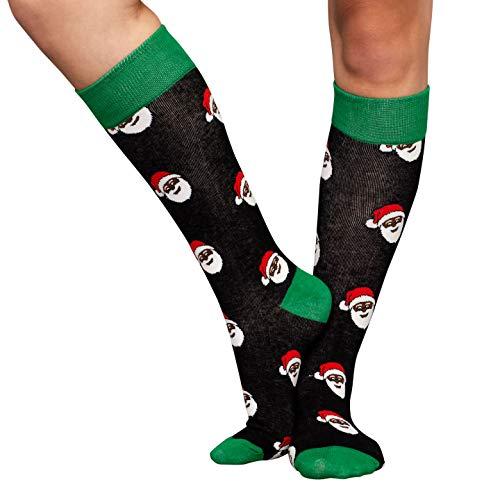 (Adult Black Santa Ugly Christmas Black and Green)