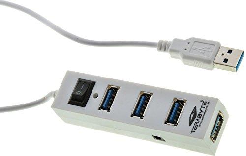Terabyte 4 Port USB 3.0 High-Speed USB Hub (White)