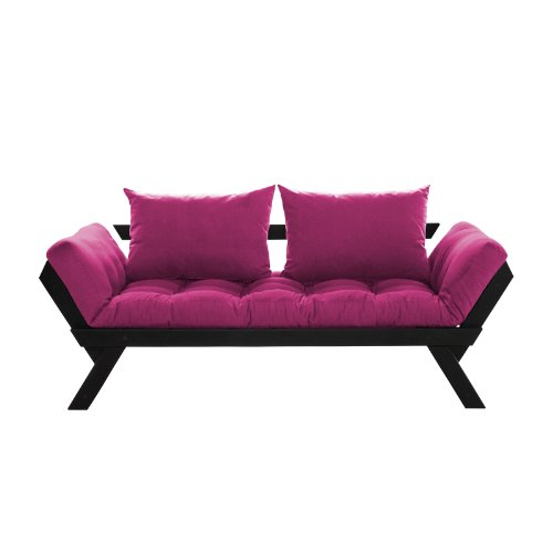 Fresh Futon Bebop Convertible Futon Sofa/Bed, Black Frame, Pink Mattress