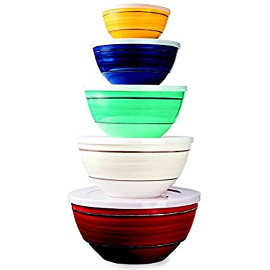 Melamine 10-Piece Bowl Set Includes Lids, 5 Sizes