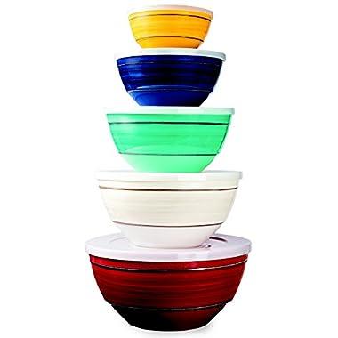 Melamine 10-Piece Bowl Set Includes Lids, 5 Sizes