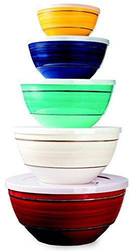 Melamine 10-Piece Bowl Set Includes Lids, 5 Sizes (Set Of Melamine Bowls compare prices)