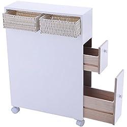 Tangkula Wood Floor Bathroom Storage Rolling Cabinet Holder Organizer Bath Toilet White