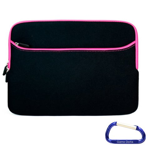 Gizmo Dorks Neoprene Zipper Sleeve (Black with Pink Trim) for the Samsung Google Chrome Book Series 5 Artic White / Titan Silver