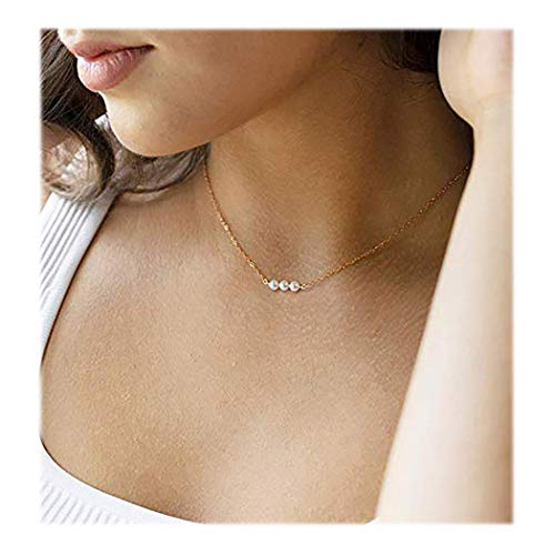 Fstrend Fashion Necklace Dainty Pearl Simple Choker Chain Charms Necklaces Jewelry for Women and Girls (Gold)