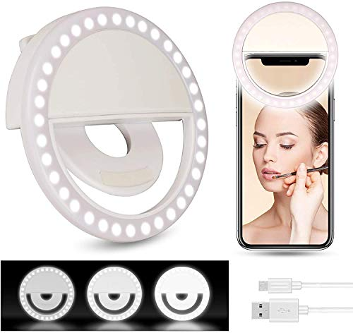 EEOUK Selfie Ring Light for Phone Portable LED Round Light with Three Brightness Modes USB Charging Port