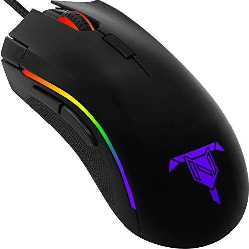 Tilted Nation Wired Gaming Mouse with 16.8 Million Backlit RGB Lighting, 7 Programmable Buttons, 5 Adjustable DPI Levels- FPS Gamer Mice for Windows PC Laptops/Desktop Computers - Black