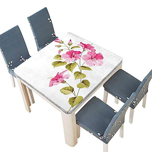 PINAFORE Polyester Tablecloth Decor Tropic Wild Hibiscus Flower Branch Fresh Leaves Exotic Flora Concept Pink Spillproof Tablecloth 37.5 x 37.5 INCH (Elastic Edge) (Top Tropic Lycra)