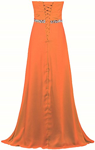 Women Strapless Gown ANTS Prom Chiffon Orange Bead Dress Empire Long s dq717wC