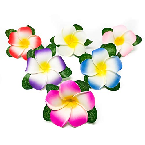 24 Piece Plumeria Flower Hair Clips - Luau Party Supplies