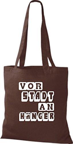 Shirtstown - Bolso de tela de algodón para mujer Marrón - marrón