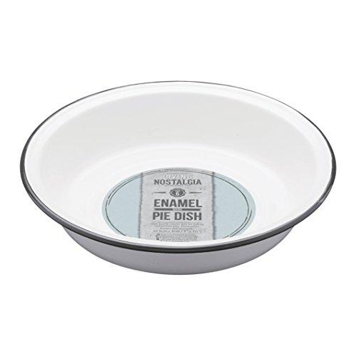 Kitchen Craft Living Nostalgia Enamel Round Pie Dish, 22.5 x 4 cm-White/Grey, 22.5 cm (9 inches)