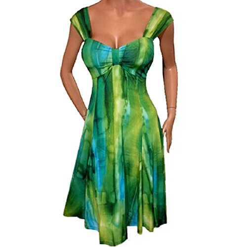 Senza Coolred Ombre Maniche Tie donne Backless Medio Abito Dye Verde shirt T Lungo 1wq5wZ