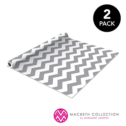 The Macbeth Collection Decorat 2 Pack Self Adhesive Shelf Liner, Contact Paper, Durable and Strong for Drawers, Shelves, Kitchen, Scrap Booking, Classrooms & Desks, Decorative, Rugby Chevron Graphite