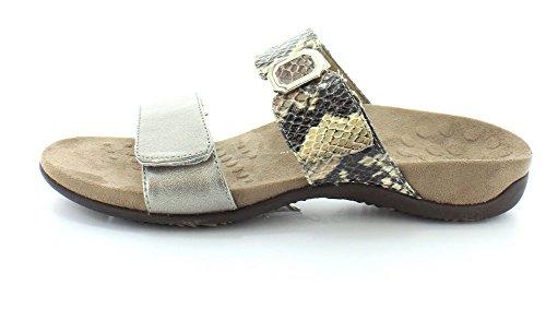 Vionic Camila Donna Open Toe Diapositive Sandalo In Peltro / Serpente Naturale