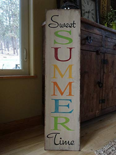 bawansign Sweet Summer Time Sign 6x24 Hand Printed Wood Sign Summer Sign Front Door Vertical Sign Outside Patio Sign Summer Decor Vertical Sign
