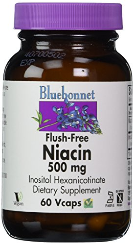 Bluebonnet Flush Free Niacin 500 mg Vegetable Capsules, 60 Count