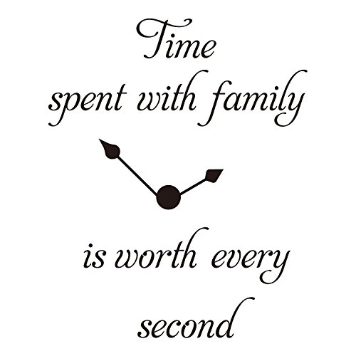 - ZSSZ Time Spent with Family is Worth Every Second Clock Decal Vinyl Wall Sticker Room Décor Words