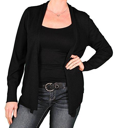 Melrose Chic Plus Open Cardigan, Black, Size 2X