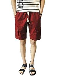 Cafuny Mens Casual Elastic Waist Outdoor Cargo Shorts Boardshorts