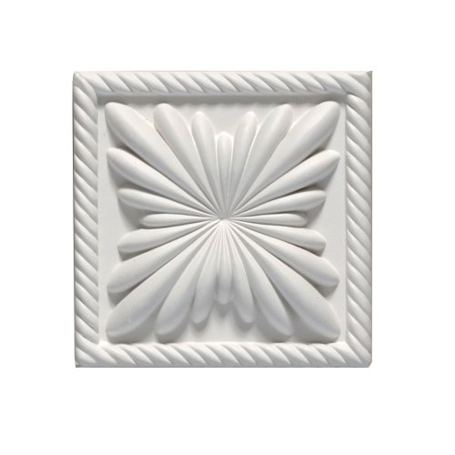 Focal Point 98900 Anatole Block Rosette 4 5/16-Inch by 4 5/16-Inch by 1 1/8-Inch, Primed White (Rosette Molding Trim)