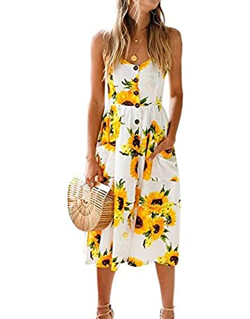 8c4e691caad1 BMJL Women's Dresses V Neck Floral Print Strappy A Line Ladies Sleeveless  Cocktail Party Beach Summer