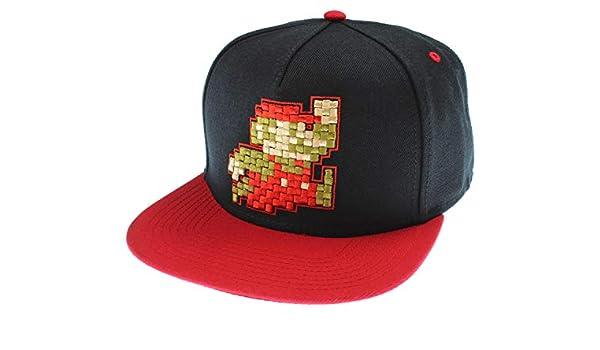 bioworld Nintendo Super Mario Hat Pixel Mario Character Black Snapback Hat  - One Size  Amazon.ca  Clothing   Accessories df83fbe9c4ec