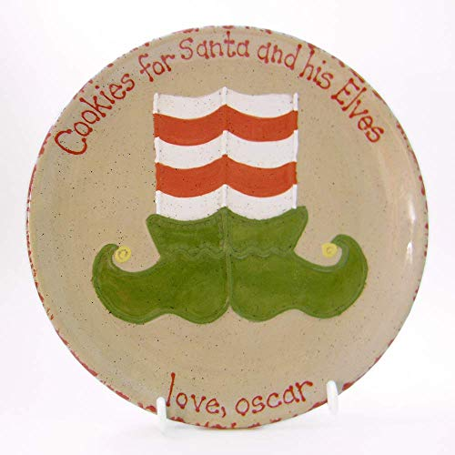 Elf Shoes Cookies for Santa Plate Personalized Ceramic Christmas Eve Cookie Dish Set