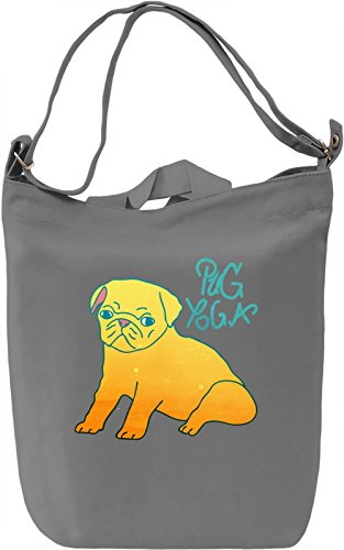Pug Yoga Borsa Giornaliera Canvas Canvas Day Bag| 100% Premium Cotton Canvas| DTG Printing|