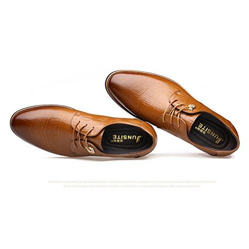Delamode Hombres Cow Zapatos De Cuero Genuino Negocios Relieve Shoelace Señaló Zapato Brown