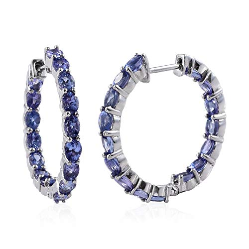 925 Sterling Silver Platinum Plated Oval Tanzanite Inside Out Hoops Hoop Earrings Cttw ()