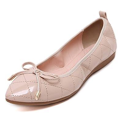 YDA- Die gestickten Schuhe der Frauen KAFEI Frau Flachen Schuh Punkte Wohnung mit Fliege, Apricot Farbe, 41