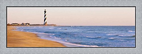 Cape Hatteras Lighthouse Pictures (Cape Hatteras Lighthouse, Hatteras Island, North Carolina by Panoramic Images Framed Art Print Wall Picture, Flat Silver Frame, 41 x 16 inches)