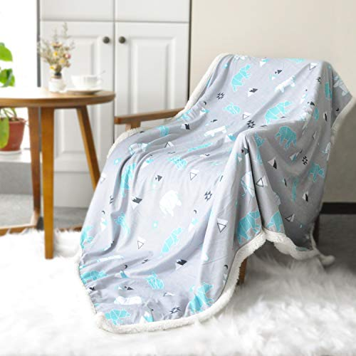 (BORITAR Sherpa Throw Blanket Super Soft Warm | Ultra Luxurious Fleece Blanket for Baby Children Teens and Young Girls, Minky Blanket with Sherpa Plush Backing (50